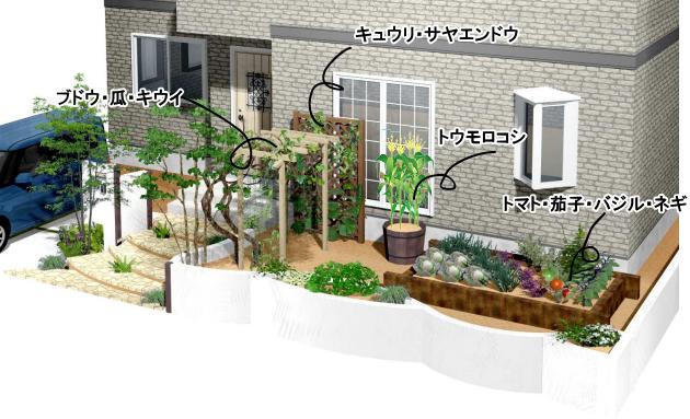庭と調和させる家庭菜園の施工例