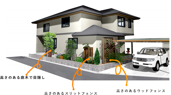 狭い庭の作り方ポイント②縦の目線を意識したガーデンアクセサリーを選ぶ