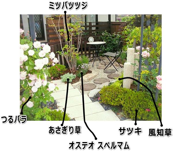 バラのアーチと小庭