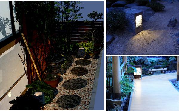 和風の庭の庭園灯