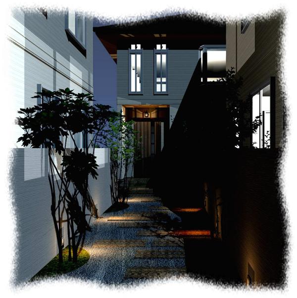 玄関アプローチの照明