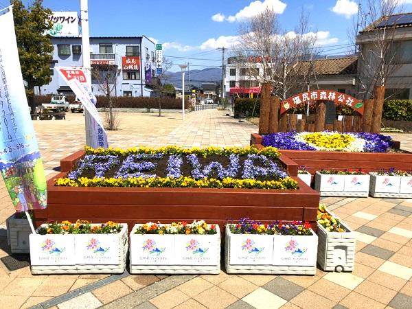 信州花フェスタ2019の塩尻駅花壇完成!