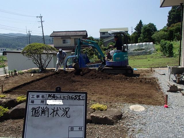 雑草知らずの砂利敷きの庭 松本市