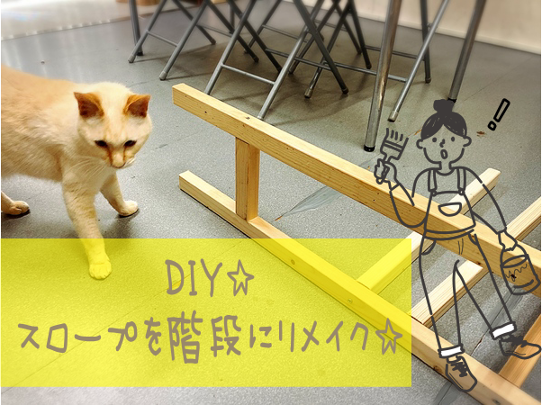 DIY☆猫専用ベランダにつながるスロープを階段にリメイク☆